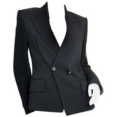 Versace Black Blazer With Lace Sleeves - Size 44