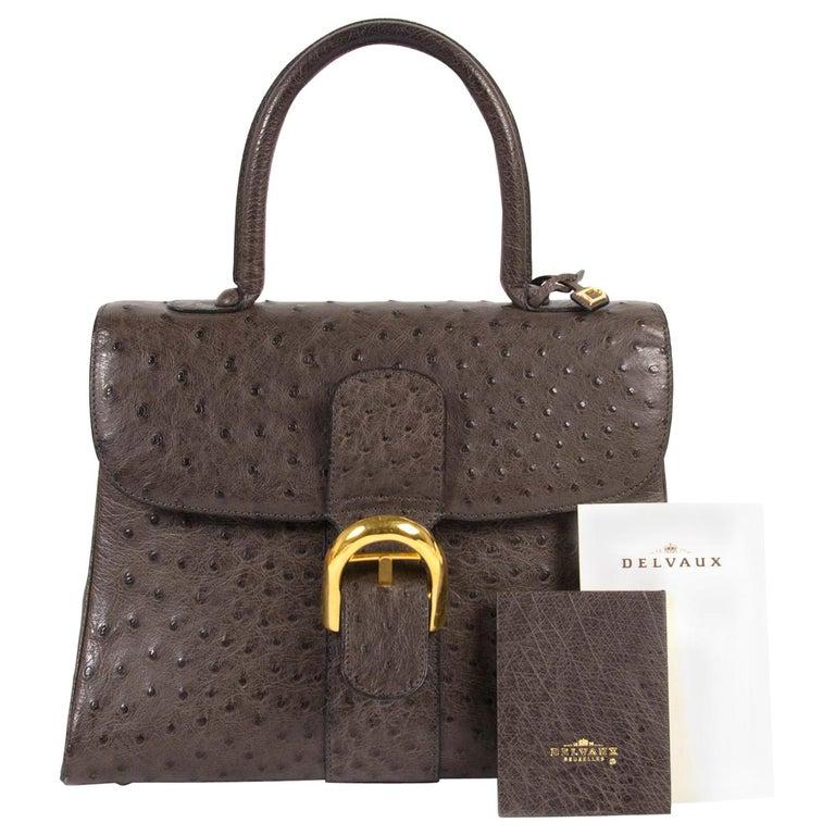 Delvaux Brillant Ostrich MM Palissandre Bag