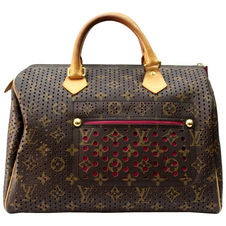 Louis Vuitton Limited Edition Fuchsia Perforated Speedy 30 Bag