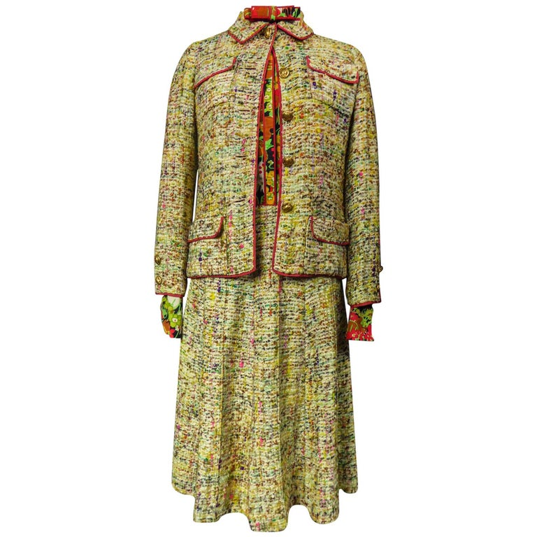 A numbered Haute Couture Chanel Skirt and Blouse Suit Circa 1968/1971 For Sale