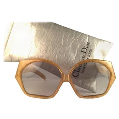 New Vintage Christian Dior 2028 60 Jasped Marbled Green Optyl Sunglasses