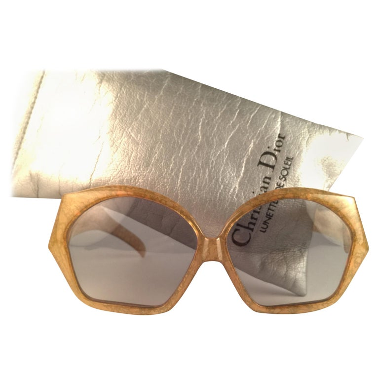 New Vintage Christian Dior 2028 60 Jasped Marbled Green Optyl Sunglasses For Sale