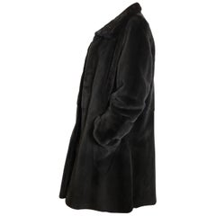 Noble sheared velvet mink fur by Dieter Apmann 3/4 coat jacket. Black/dark gray.