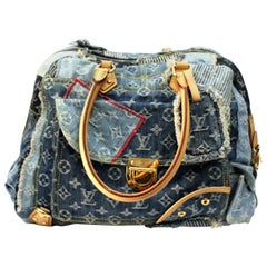 LOUIS VUITTON Limited Edition Blue Denim Monogram Patchwork Bowly Bag