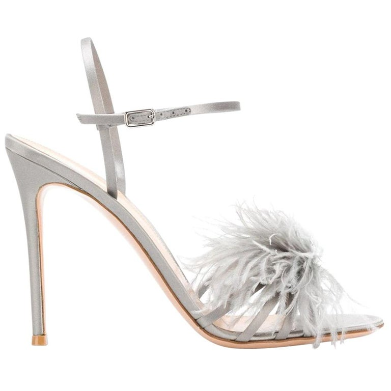 3884024f47f715 Gianvito Rossi Ginger Feather-Embellished Satin Sandals For Sale at 1stdibs