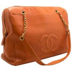 CHANEL Caviar Orange Jumbo Large Chain Shoulder Bag Zip Gold