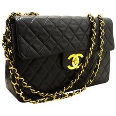 233e4fb0b393 CHANEL Half Moon Single Flap Chain Shoulder Bag Black Quilted Lamb ...