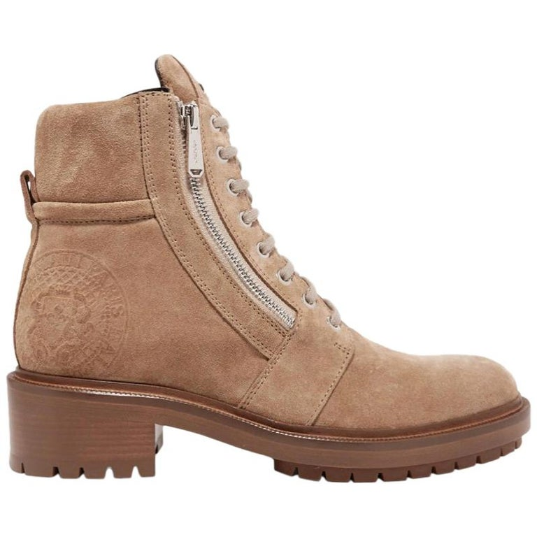 Balmain Natural Ranger Suede Ankle Boots For Sale