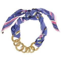 Louis Vuitton Martelé Gold-Tone Silk Necklace