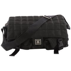 Chanel Sport Line Double Pocket Messenger Quilted Nylon Medium