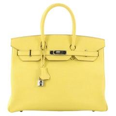 Hermes Birkin Handbag Soufre Epsom with Palladium Hardware 35