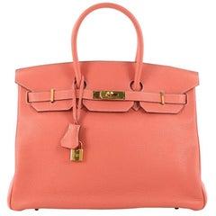 Hermes Birkin Handbag Crevette Clemence with Gold Hardware 35
