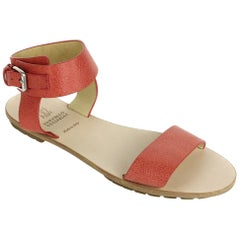 Brunello Cucinelli Women Bright Orange Leather Flat Sandal