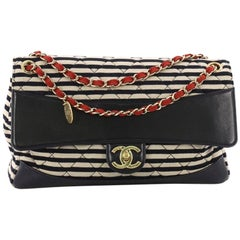 Chanel Coco Sailor Medallion Flap Bag Quilted Jersey and Lambskin Jumbo