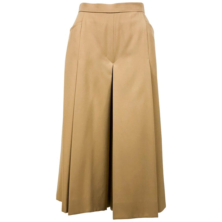 1970's Hermes Beige Wool Culottes  For Sale