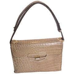 Vintage Biscuit Colour Crocodile Bag