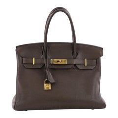 Hermes Birkin Handbag Ebene Clemence with Gold Hardware 30