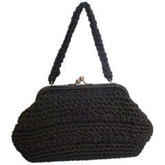 Black Vintage Raffia Bag