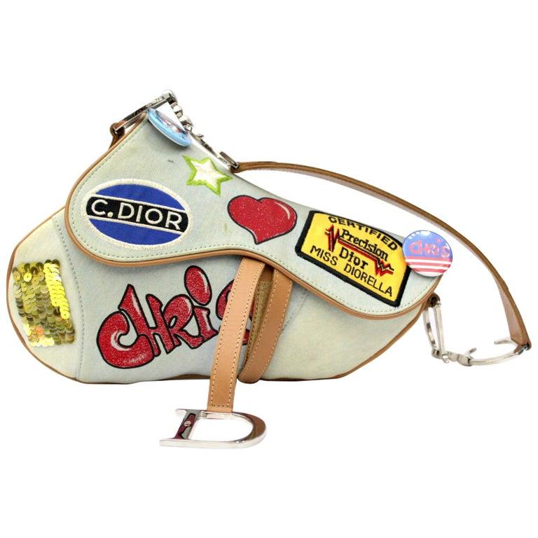 8f100ba080 CHRISTIAN DIOR Denim Speedway Saddle Bag For Sale at 1stdibs