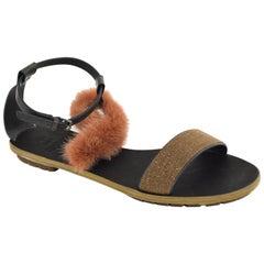 Brunello Cucinelli Women Pink Mink Fur Monili Flat Sandal