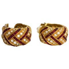 1980's Yves Saint Laurent Crystal Embellished Gold-Plated Hoop Earrings