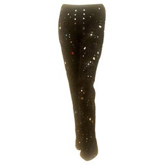 Emilio Pucci Black Mirrored, Embroidered & Beaded Flared Silk Blend 2011 Slacks