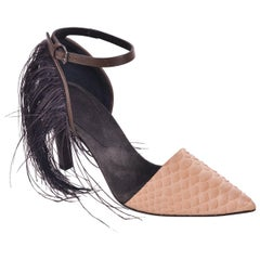 Brunello Cucinelli Womens Brown Embossed Leather Fringe Pumps