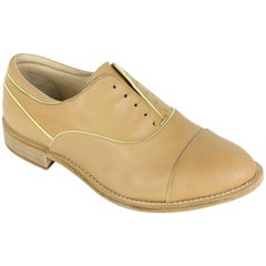Brunello Cucinelli Womens Light Brown Yellow Leather Loafers