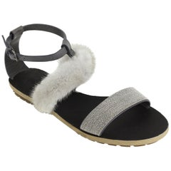 Brunello Cucinelli Womens Grey Mink Fur Monili Flat Sandal