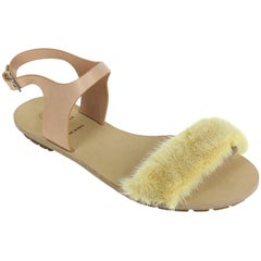 Brunello Cucinelli Womens Beige Mink Fur Flat Sandal