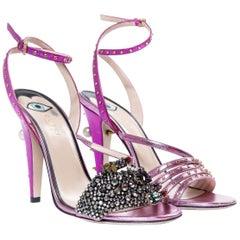Gucci Crystal Hand-Applique Embellished Sandals