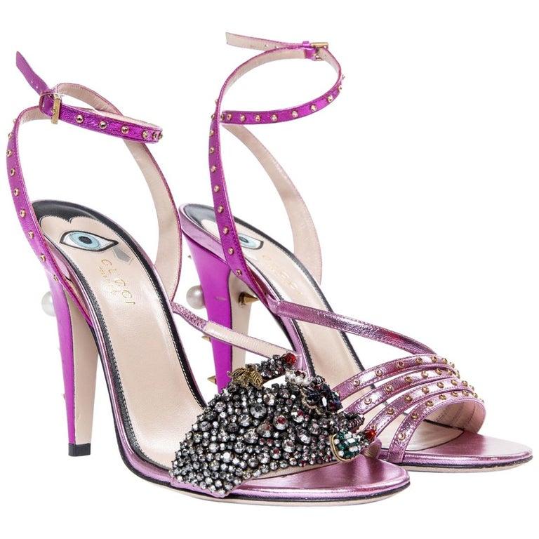 Gucci Crystal Hand-Applique Embellished Sandals  For Sale