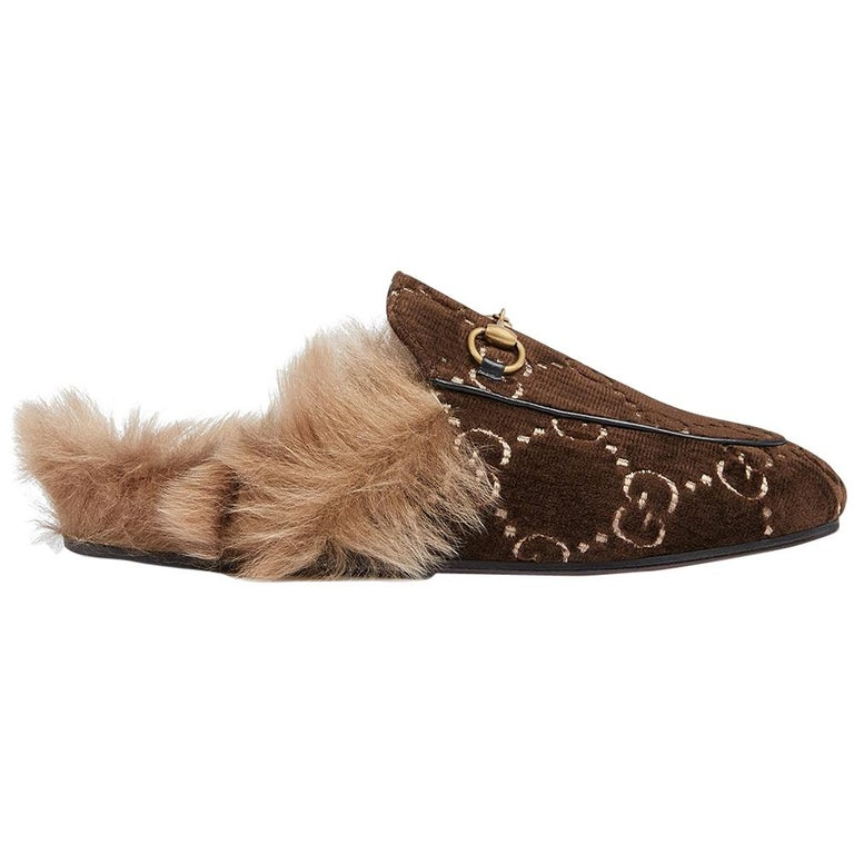 fbac19329 Gucci Princetown GG Velvet Slippers at 1stdibs