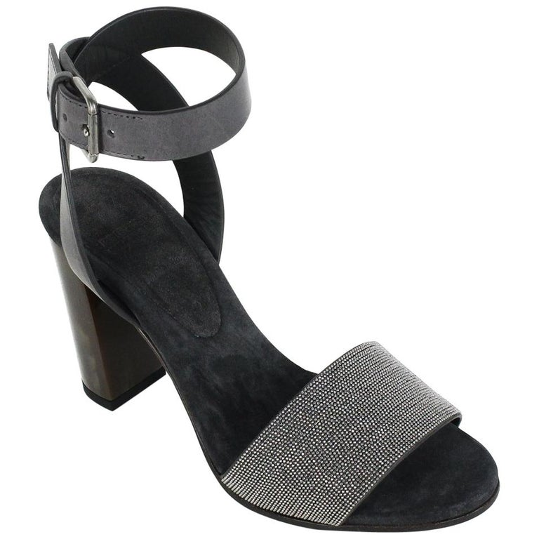 779c1009743f Brunello Cucinelli Womens Grey Monili Ankle Strap Sandals For Sale at  1stdibs