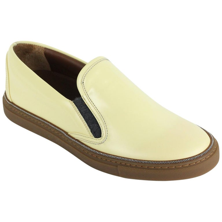 f8343aff97b Brunello Cucinelli Womens Monili Beaded Yellow Slip Ons For Sale at ...