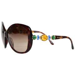Bulgari Bvlgari Brown Tortoise W/ Orange, Green, Blue Gems On Arms Sunglasses