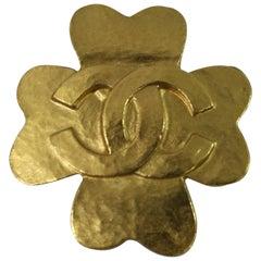 Vintage Chanel Gold Plated 1995 Treffle Brooch