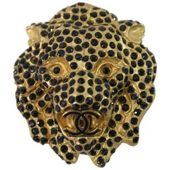 Chanel Gold Plated and Black Stones Lion Brooch