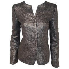 Armani Collezioni Pewter Tone Glimmer Brocade With Turn Up Cuffs