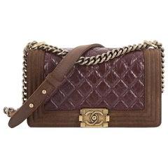 Chanel Paris-Edinburgh Boy Flap Bag Quilted Aged Calfskin with Nubuck Old Medium