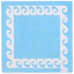 PIERRE CARDIN c.1970's Sky Blue & White Signature Logo Square Scarf