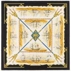 "HERMES Hugo Grygkar ""La Marine en Bois"" Black Nautical Ship Trident Silk Scarf"