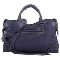 Balenciaga City Classic Studs Handbag Nylon Medium