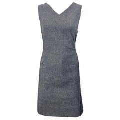Chic 1960s Heather Gray Wool Sleeveless Vintage 60s Mod Shift Dress