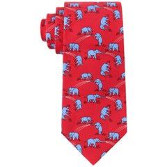 HERMES Red & Blue Elephant Print 5 Fold Silk Necktie Tie 7111 OA