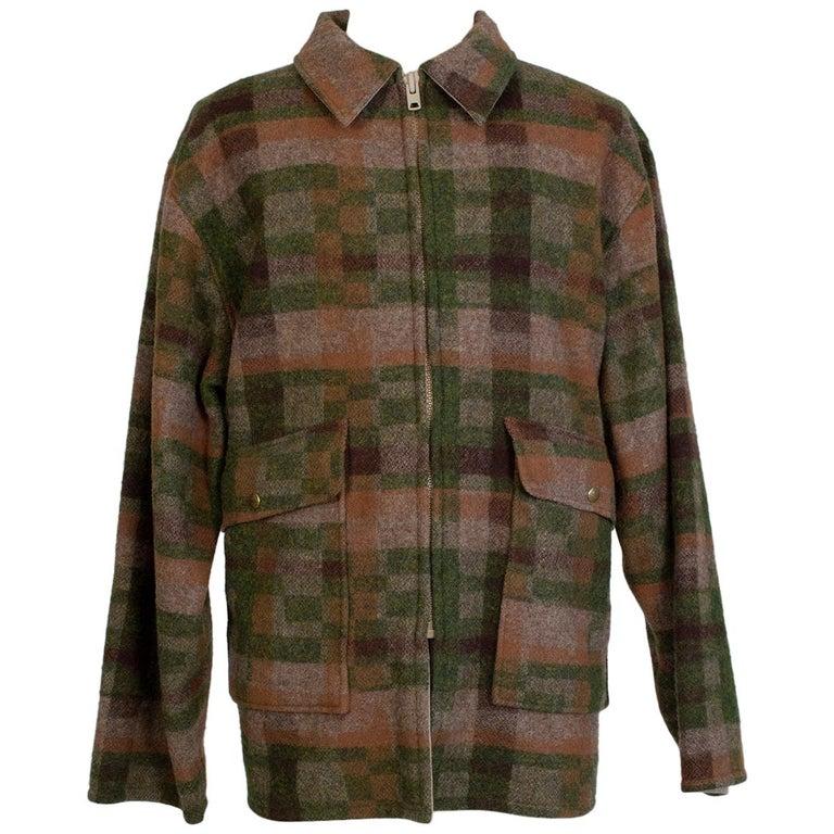 Men's LL Bean Reversible Plaid Field Jacket, 1980s For Sale
