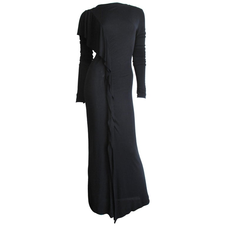 72e9a823c9db35 1990s Jean Paul Gaultier Maxi Dress with Ruffle For Sale at 1stdibs