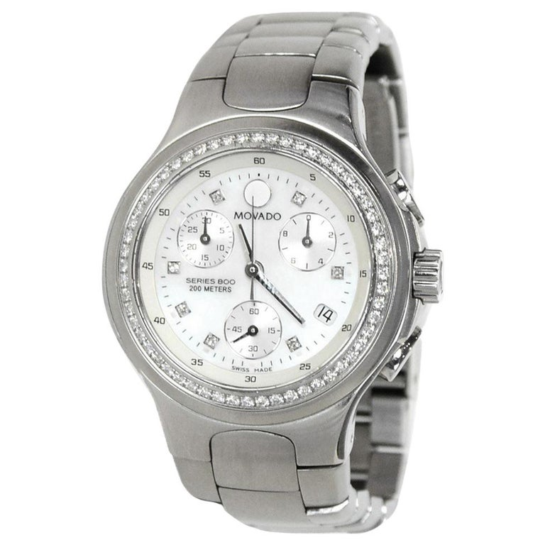 ee64eee7157 Movado Stainless Steel 30mm Series 800 Watch W  Mother Of Pearl Face    Diamonds For