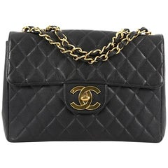 Chanel Vintage Classic Single Flap Bag Quilted Caviar Maxi
