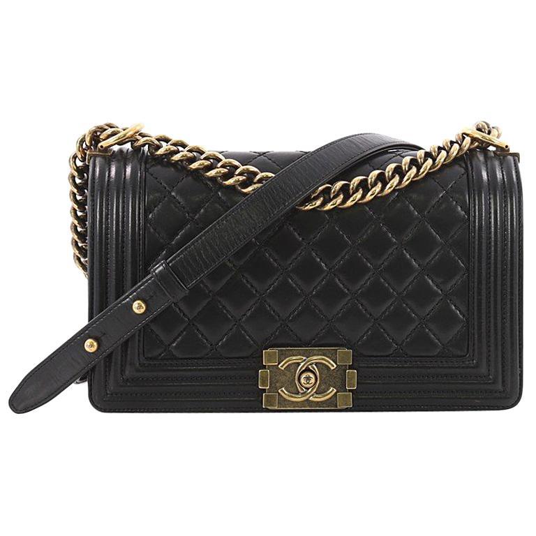 da8aa75c87359f Chanel Boy Flap Bag Quilted Glazed Calfskin Old Medium at 1stdibs